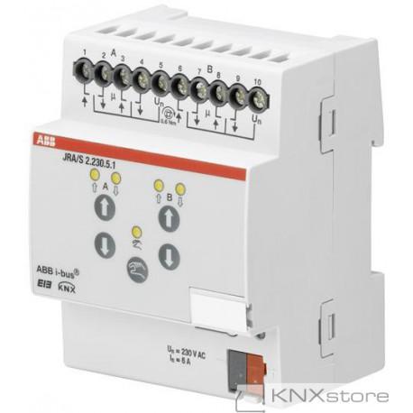 ABB KNX Řadový žaluziový akční člen 2násobný, 230 V AC, detekce pohybu a man. ovládání